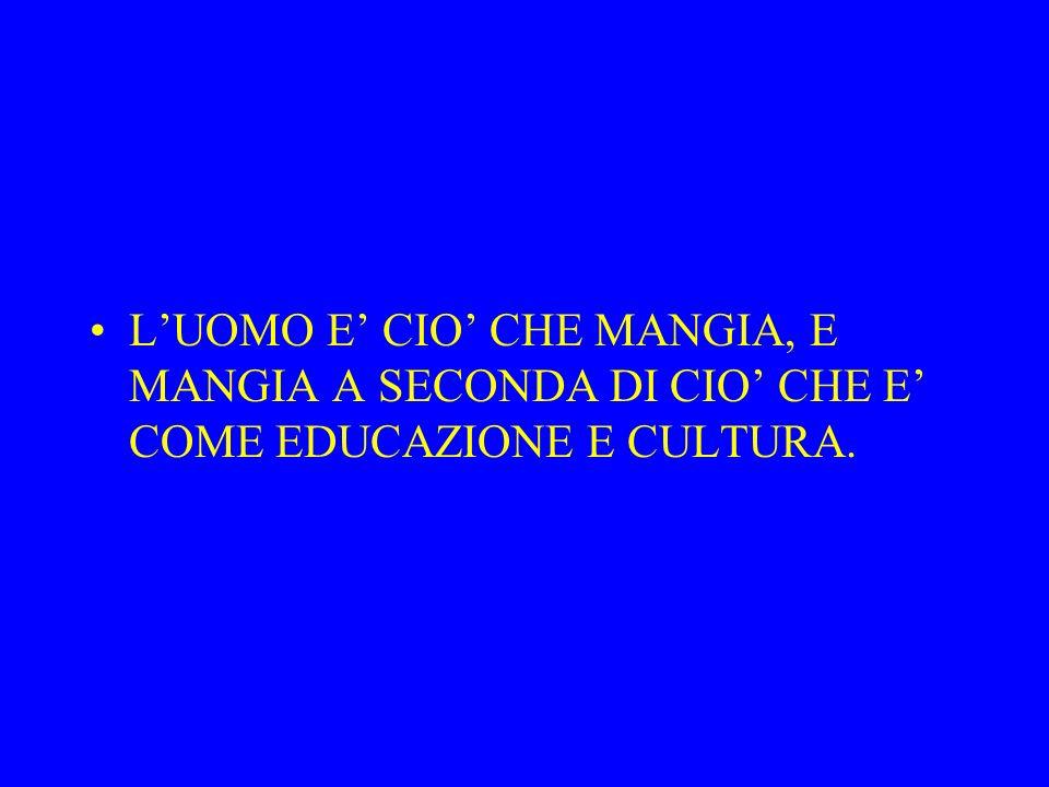 LUOMO E CIO CHE MANGIA, E MANGIA A SECONDA DI CIO CHE E COME EDUCAZIONE E CULTURA.