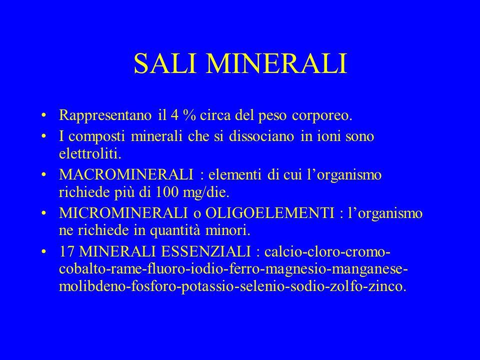 SALI MINERALI Rappresentano il 4 % circa del peso corporeo. I composti minerali che si dissociano in ioni sono elettroliti. MACROMINERALI : elementi d