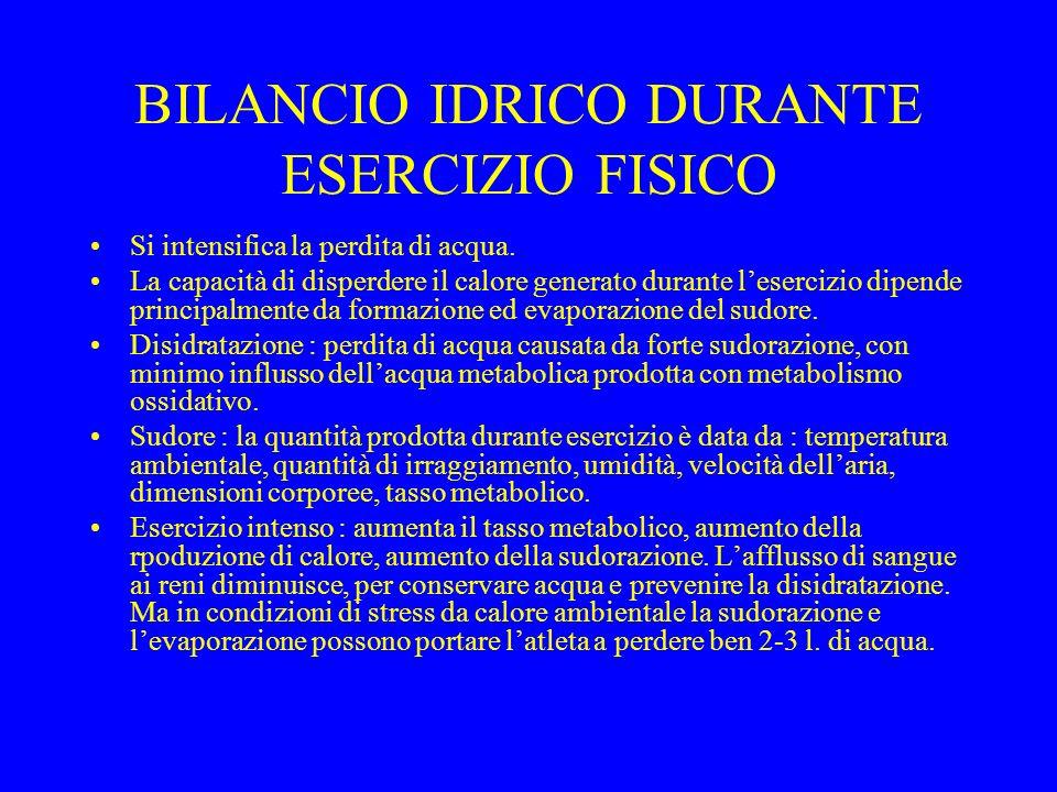 BILANCIO IDRICO DURANTE ESERCIZIO FISICO Si intensifica la perdita di acqua.