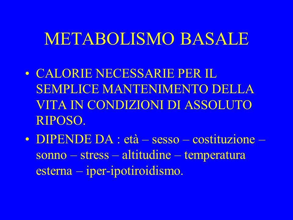 METABOLISMO BASALE CALORIE NECESSARIE PER IL SEMPLICE MANTENIMENTO DELLA VITA IN CONDIZIONI DI ASSOLUTO RIPOSO.