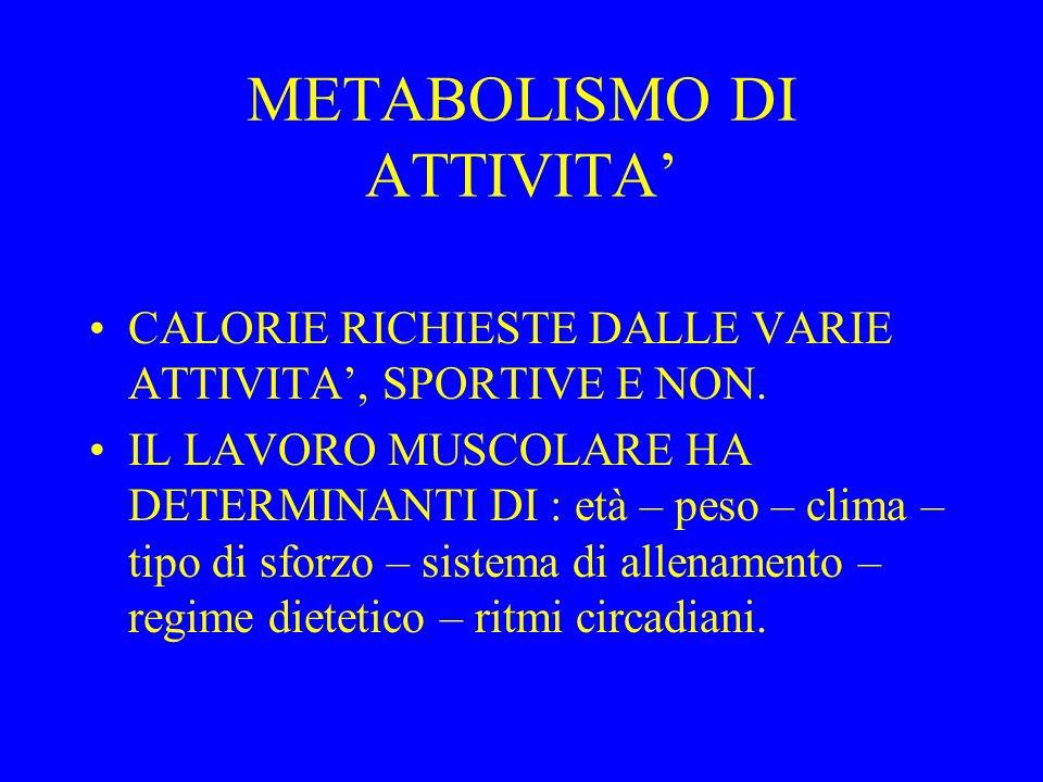 METABOLISMO DI ATTIVITA CALORIE RICHIESTE DALLE VARIE ATTIVITA, SPORTIVE E NON.