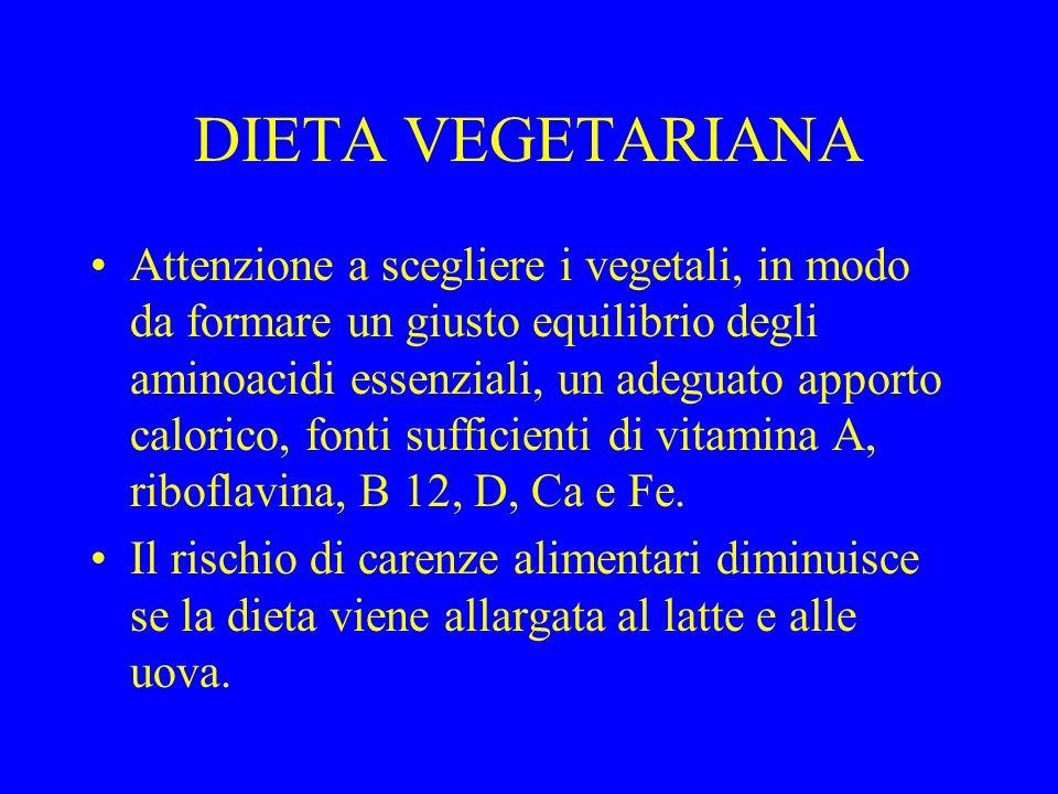 DIETA VEGETARIANA Attenzione a scegliere i vegetali, in modo da formare un giusto equilibrio degli aminoacidi essenziali, un adeguato apporto calorico, fonti sufficienti di vitamina A, riboflavina, B 12, D, Ca e Fe.