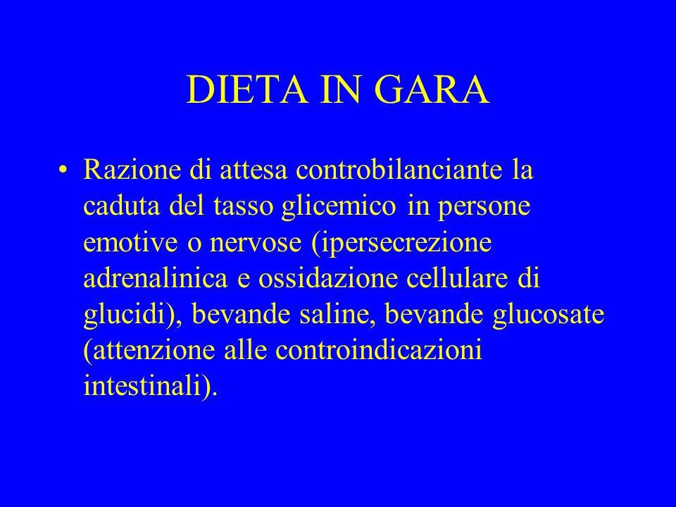 DIETA IN GARA Razione di attesa controbilanciante la caduta del tasso glicemico in persone emotive o nervose (ipersecrezione adrenalinica e ossidazion