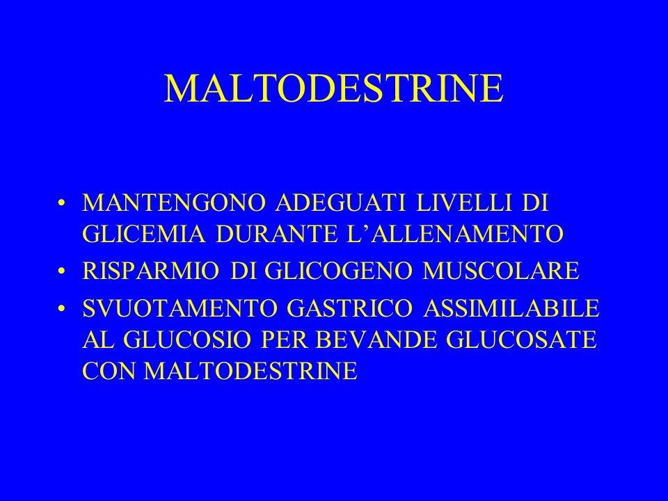 MALTODESTRINE MANTENGONO ADEGUATI LIVELLI DI GLICEMIA DURANTE LALLENAMENTO RISPARMIO DI GLICOGENO MUSCOLARE SVUOTAMENTO GASTRICO ASSIMILABILE AL GLUCOSIO PER BEVANDE GLUCOSATE CON MALTODESTRINE