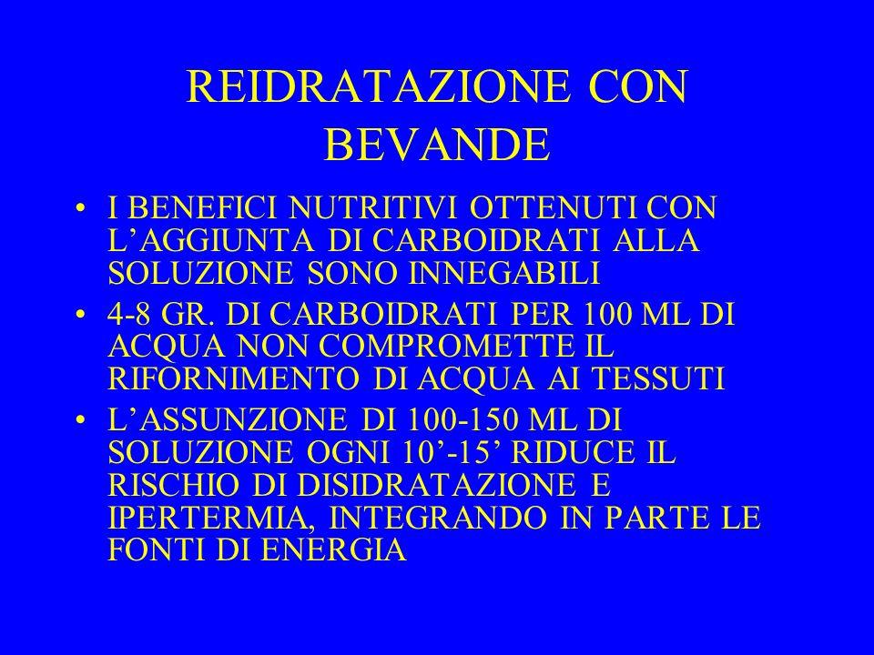 REIDRATAZIONE CON BEVANDE I BENEFICI NUTRITIVI OTTENUTI CON LAGGIUNTA DI CARBOIDRATI ALLA SOLUZIONE SONO INNEGABILI 4-8 GR. DI CARBOIDRATI PER 100 ML