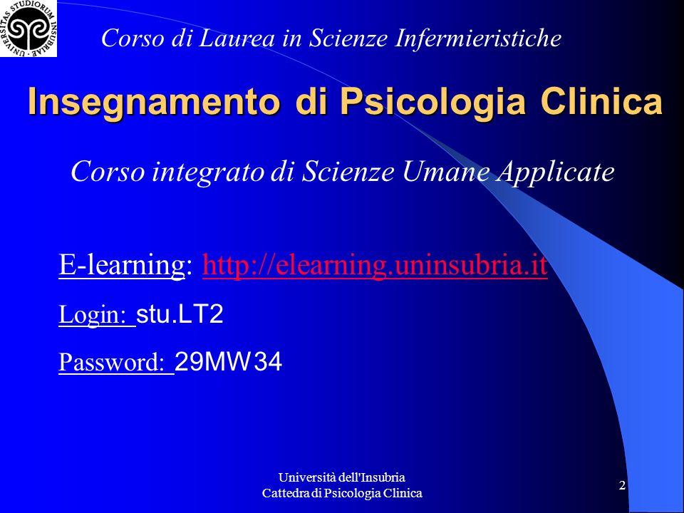 Università dell Insubria Cattedra di Psicologia Clinica 2 Insegnamento di Psicologia Clinica Corso integrato di Scienze Umane Applicate E-learning: http://elearning.uninsubria.ithttp://elearning.uninsubria.it Login: stu.LT2 Password: 29MW34 Corso di Laurea in Scienze Infermieristiche