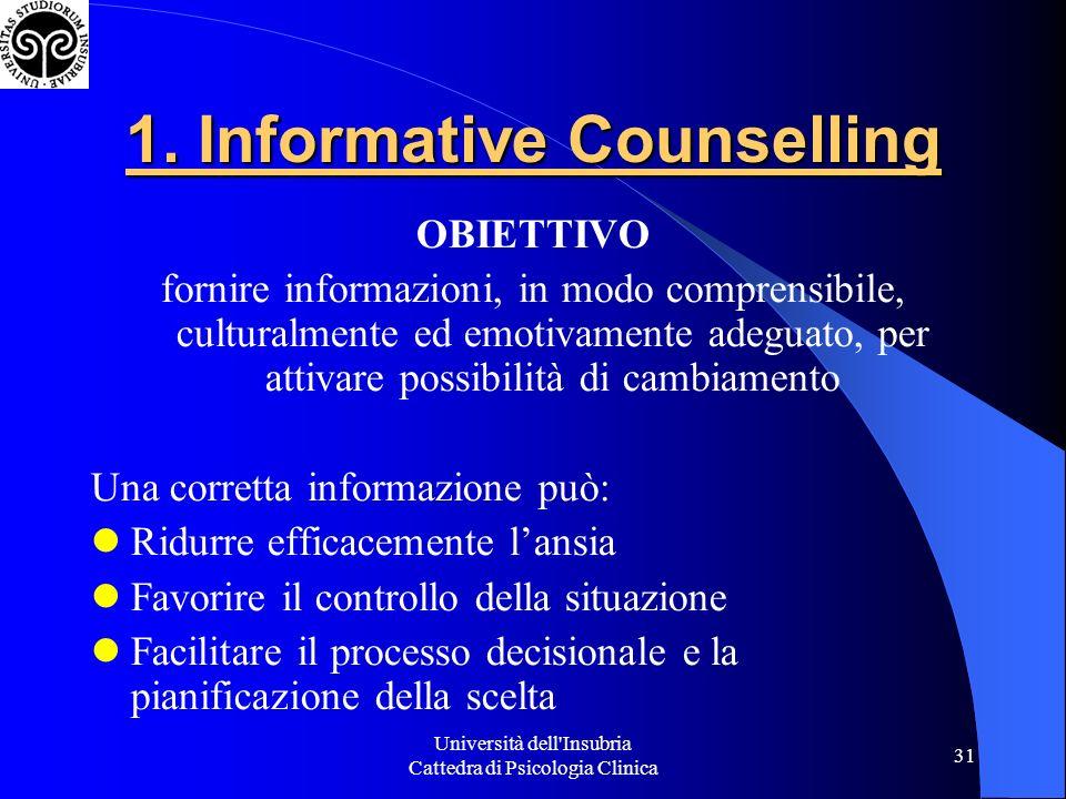 Università dell Insubria Cattedra di Psicologia Clinica 31 1.