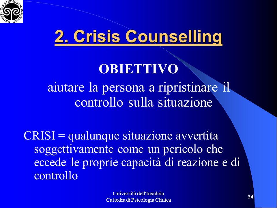 Università dell Insubria Cattedra di Psicologia Clinica 34 2.