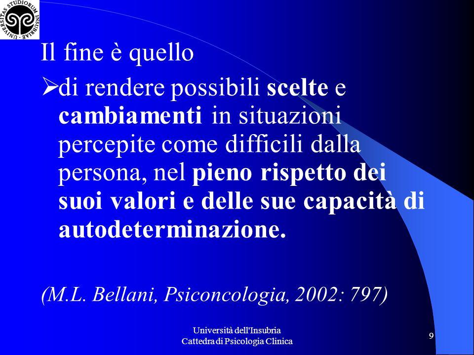 Università dell Insubria Cattedra di Psicologia Clinica 40 4.