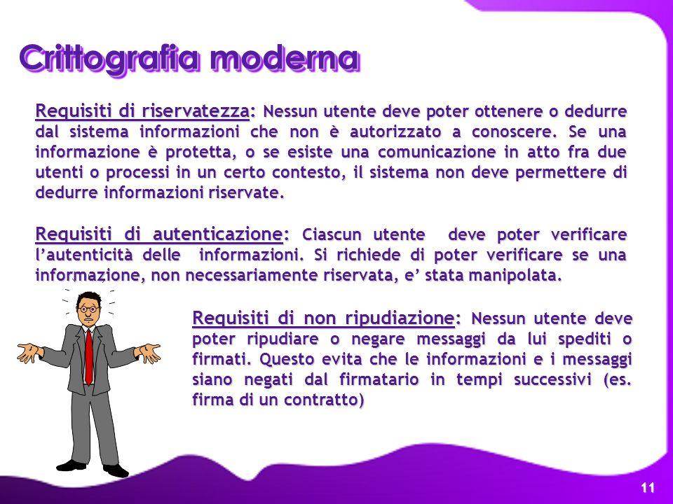 11 Requisiti di riservatezza: Nessun utente deve poter ottenere o dedurre dal sistema informazioni che non è autorizzato a conoscere. Se una informazi