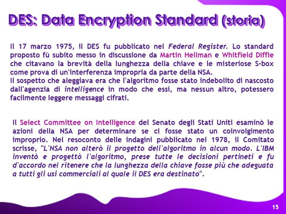 15 DES: Data Encryption Standard (storia) Il 17 marzo 1975, il DES fu pubblicato nel Federal Register. Lo standard proposto fù subito messo in discuss