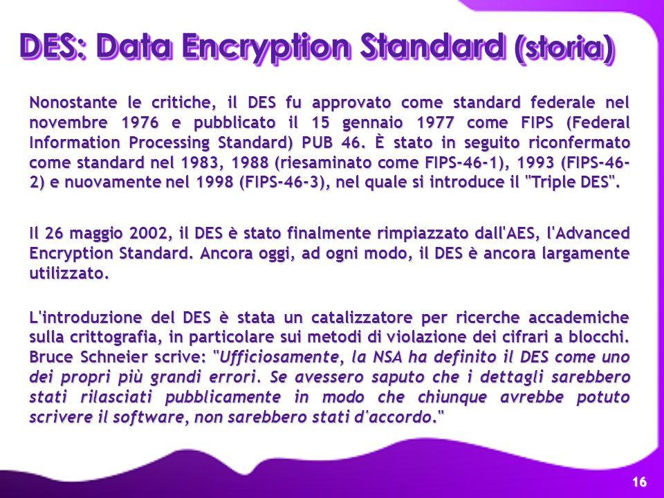16 Nonostante le critiche, il DES fu approvato come standard federale nel novembre 1976 e pubblicato il 15 gennaio 1977 come FIPS (Federal Information