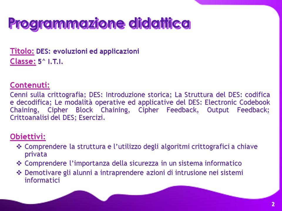 2 Programmazione didattica Titolo: DES: evoluzioni ed applicazioni Classe: 5^ I.T.I. Contenuti: Cenni sulla crittografia; DES: Introduzione storica; L