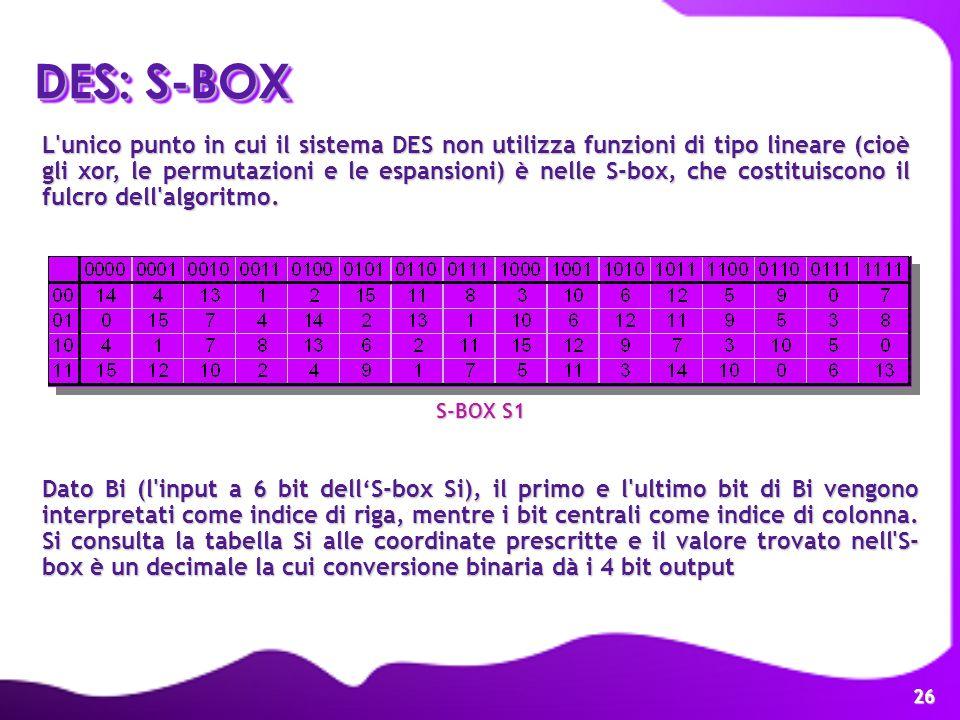 26 L'unico punto in cui il sistema DES non utilizza funzioni di tipo lineare (cioè gli xor, le permutazioni e le espansioni) è nelle S-box, che costit
