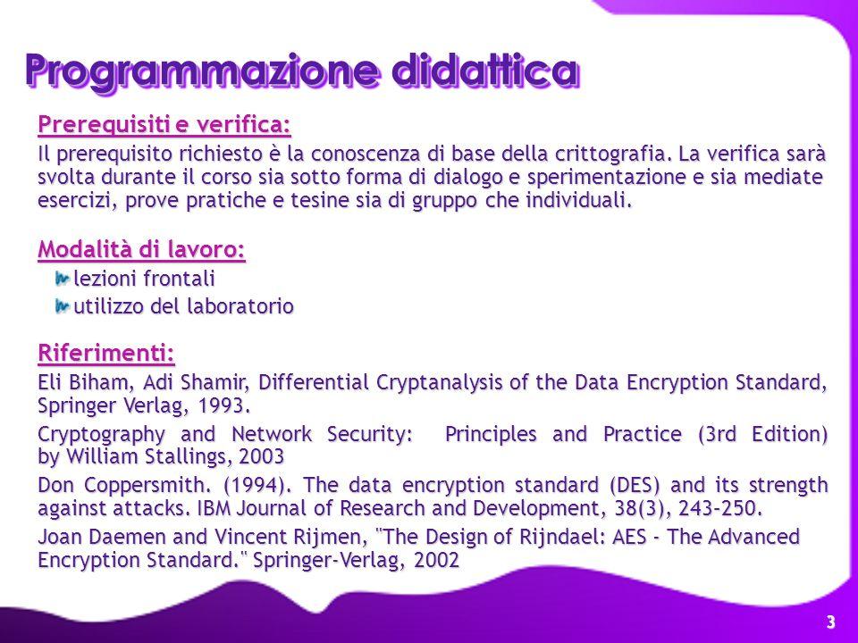 3 Programmazione didattica Prerequisiti e verifica: Il prerequisito richiesto è la conoscenza di base della crittografia. La verifica sarà svolta dura