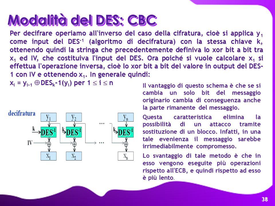 38 Per decifrare operiamo all'inverso del caso della cifratura, cioè si applica y 1 come input del DES -1 (algoritmo di decifratura) con la stessa chi