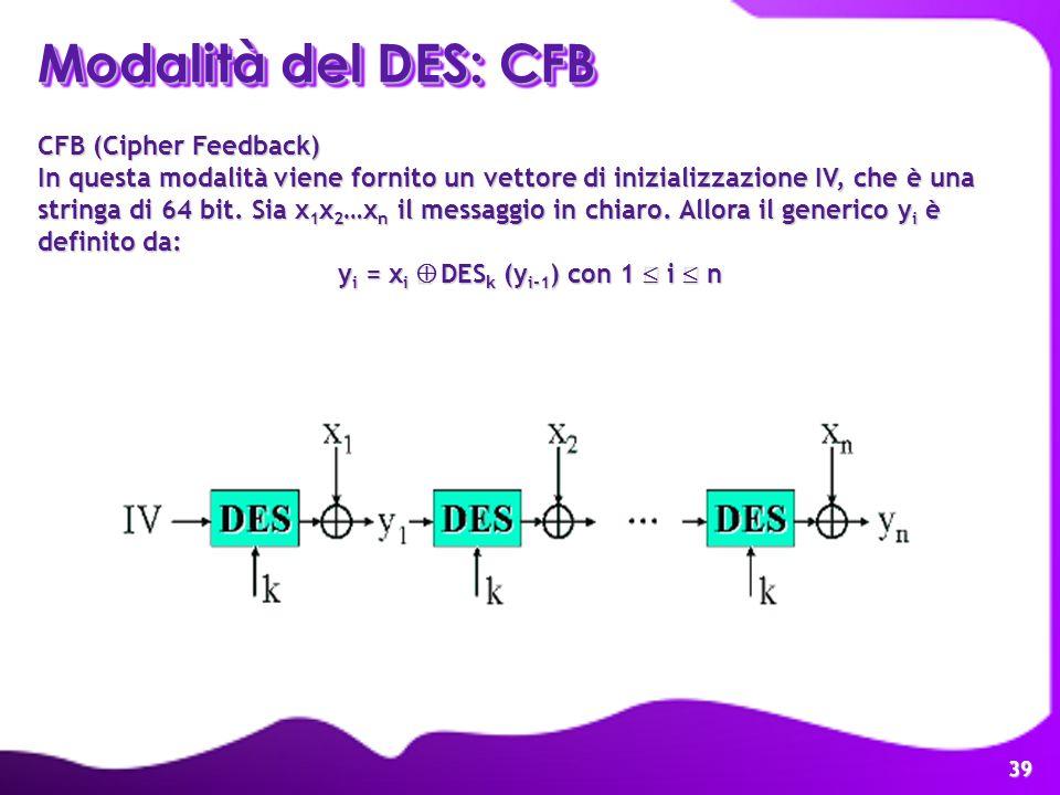 39 Modalità del DES: CFB CFB (Cipher Feedback) In questa modalità viene fornito un vettore di inizializzazione IV, che è una stringa di 64 bit. Sia x