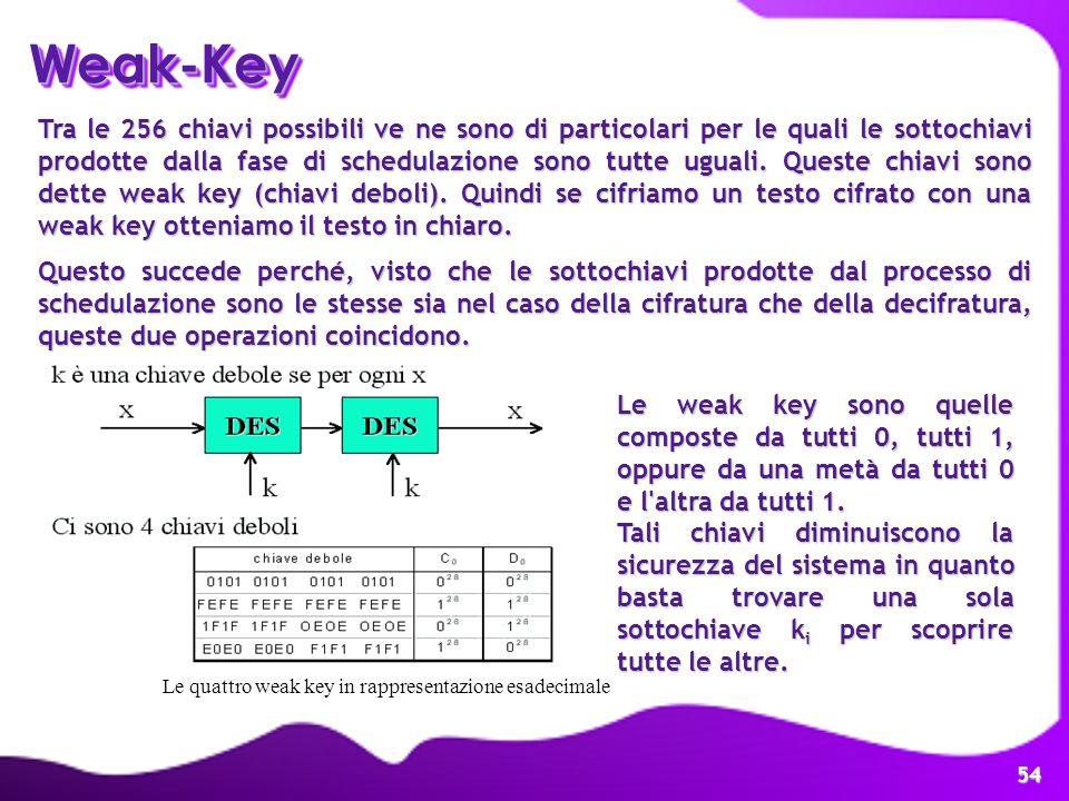 54 Weak-KeyWeak-Key Tra le 256 chiavi possibili ve ne sono di particolari per le quali le sottochiavi prodotte dalla fase di schedulazione sono tutte