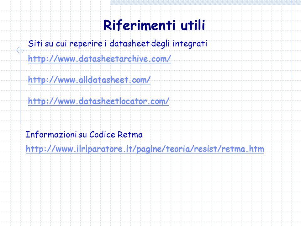 Riferimenti utili Siti su cui reperire i datasheet degli integrati http://www.datasheetarchive.com/ http://www.datasheetlocator.com/ http://www.alldat