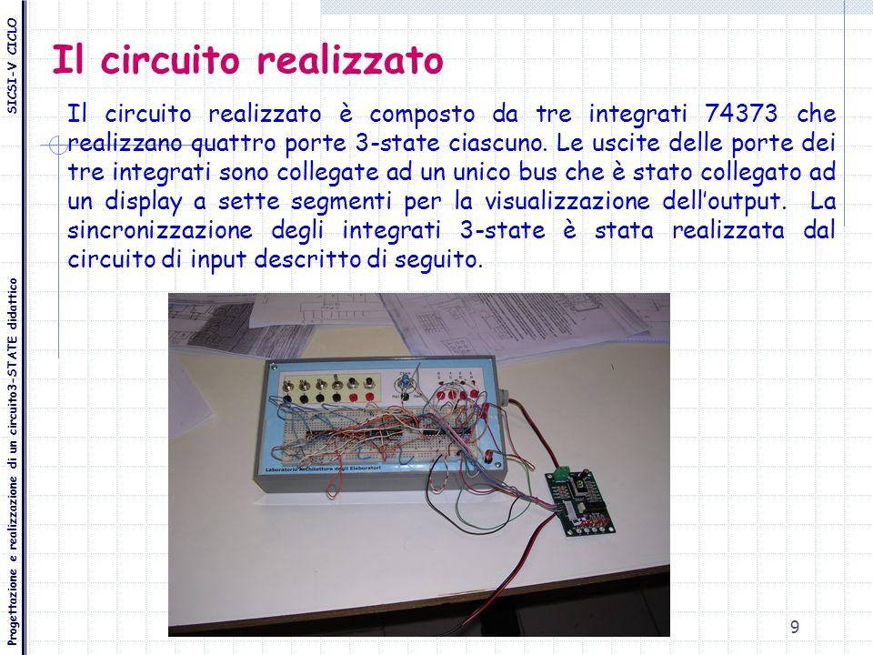 9 Il circuito realizzato Il circuito realizzato è composto da tre integrati 74373 che realizzano quattro porte 3-state ciascuno. Le uscite delle porte