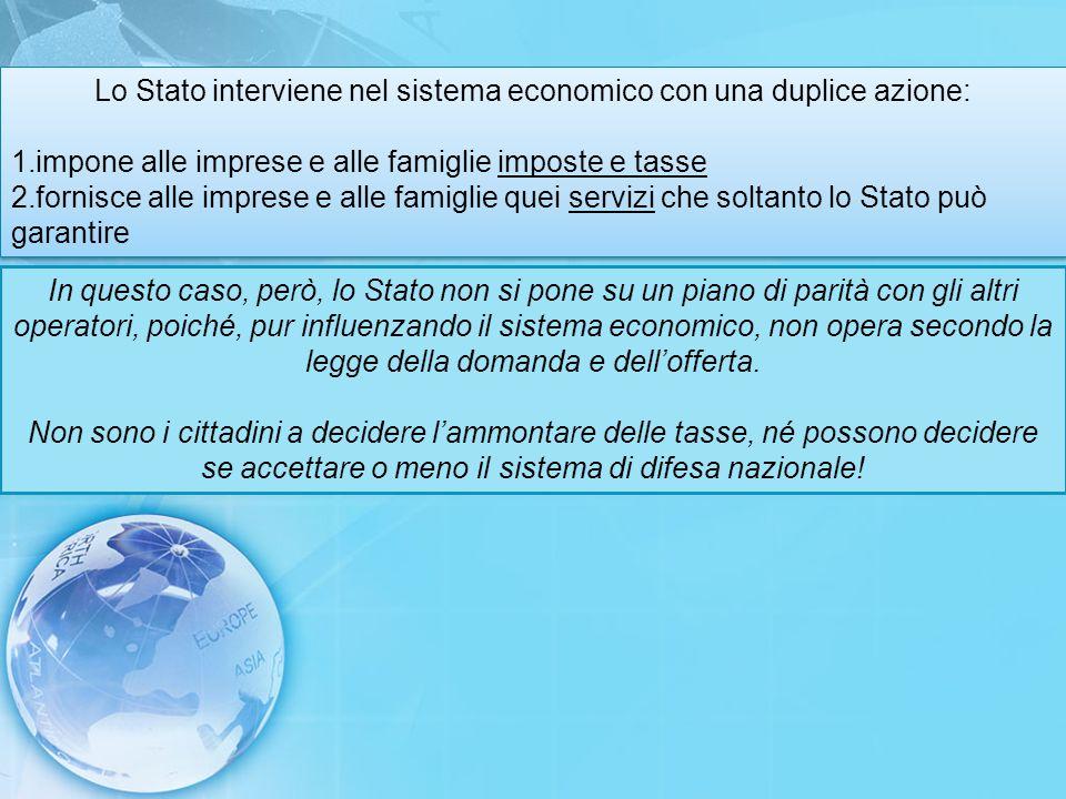Lo Stato interviene nel sistema economico con una duplice azione: 1.impone alle imprese e alle famiglie imposte e tasse 2.fornisce alle imprese e alle