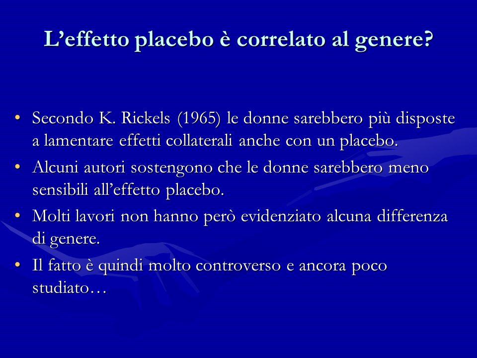 Leffetto placebo è correlato al genere? Secondo K. Rickels (1965) le donne sarebbero più disposte a lamentare effetti collaterali anche con un placebo