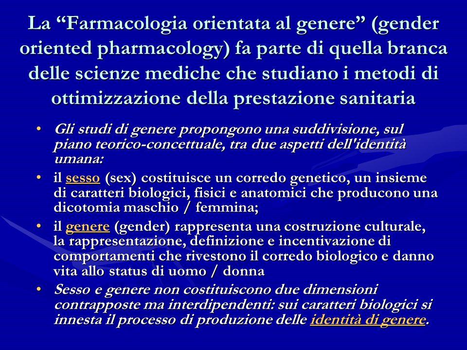 La Farmacologia orientata al genere (gender oriented pharmacology) fa parte di quella branca delle scienze mediche che studiano i metodi di ottimizzaz