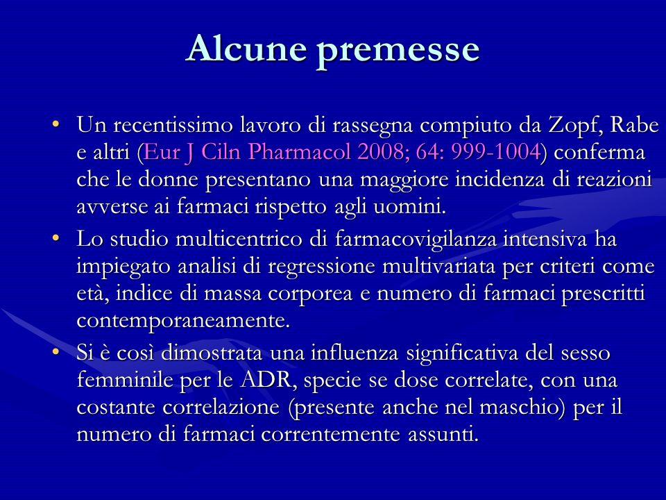 Alcune premesse Un recentissimo lavoro di rassegna compiuto da Zopf, Rabe e altri (Eur J Ciln Pharmacol 2008; 64: 999-1004) conferma che le donne pres