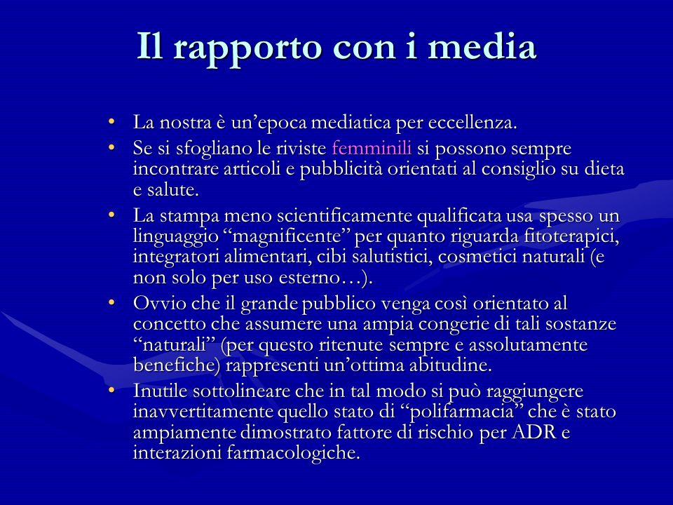 Il rapporto con i media La nostra è unepoca mediatica per eccellenza.La nostra è unepoca mediatica per eccellenza. Se si sfogliano le riviste femminil