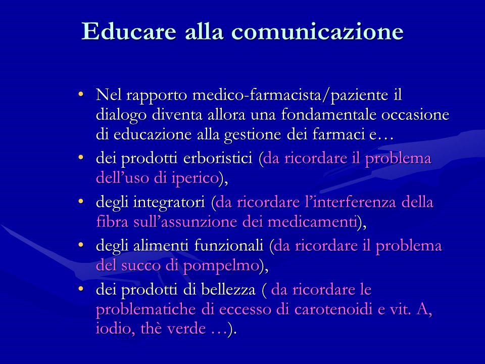 Educare alla comunicazione Nel rapporto medico-farmacista/paziente il dialogo diventa allora una fondamentale occasione di educazione alla gestione de
