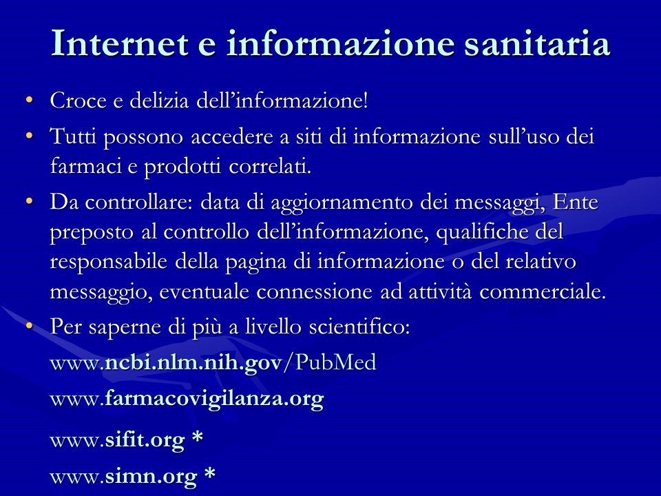 Internet e informazione sanitaria Croce e delizia dellinformazione!Croce e delizia dellinformazione! Tutti possono accedere a siti di informazione sul