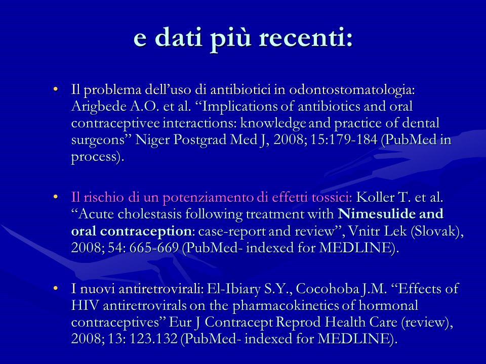 e dati più recenti: Il problema delluso di antibiotici in odontostomatologia: Arigbede A.O. et al. Implications of antibiotics and oral contraceptivee