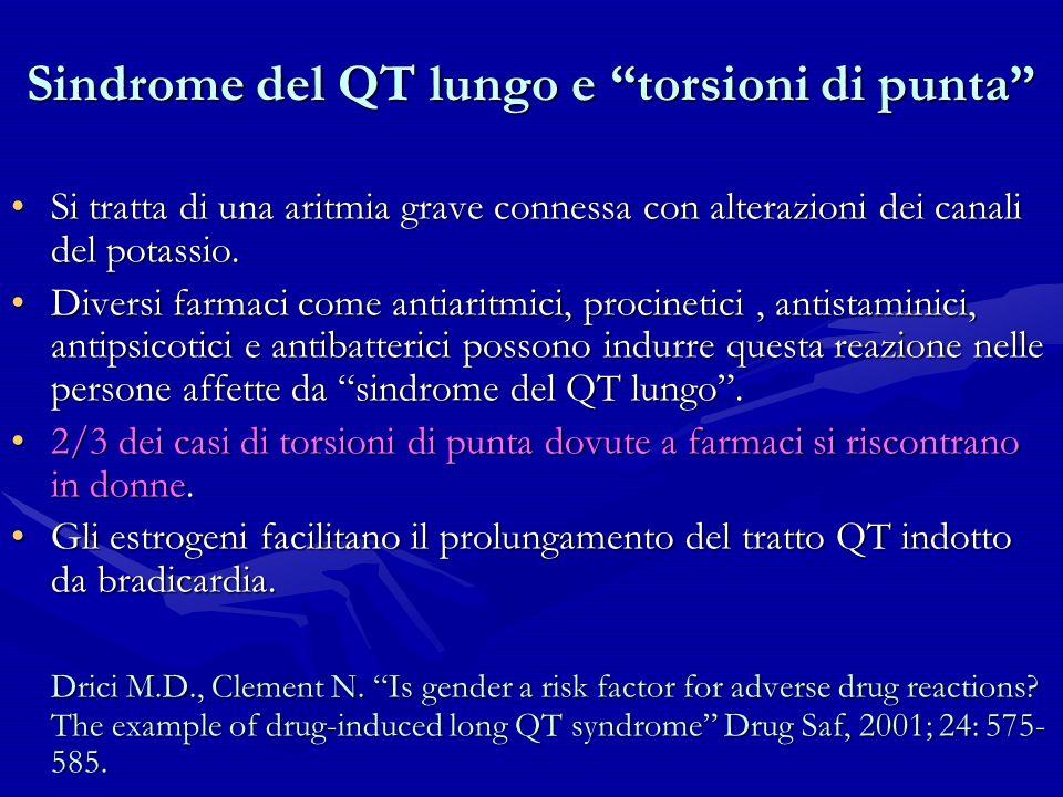 Sindrome del QT lungo e torsioni di punta Si tratta di una aritmia grave connessa con alterazioni dei canali del potassio.Si tratta di una aritmia gra