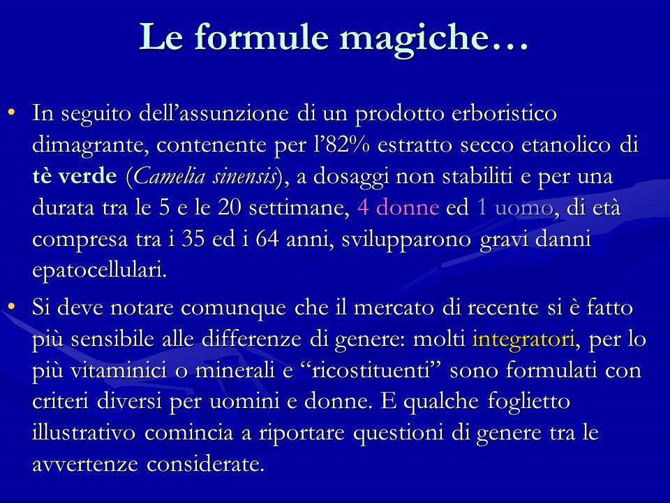 Le formule magiche… In seguito dellassunzione di un prodotto erboristico dimagrante, contenente per l82% estratto secco etanolico di tè verde (Camelia