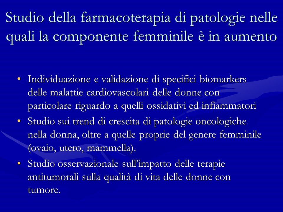 Studio della farmacoterapia di patologie nelle quali la componente femminile è in aumento Individuazione e validazione di specifici biomarkers delle m