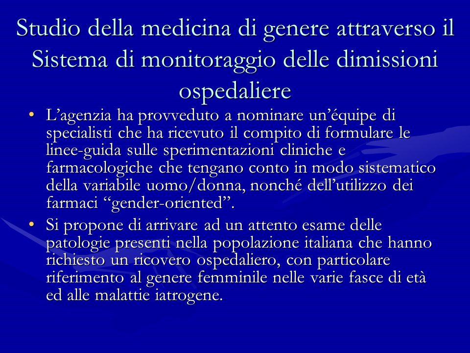 Studio della medicina di genere attraverso il Sistema di monitoraggio delle dimissioni ospedaliere Lagenzia ha provveduto a nominare unéquipe di speci