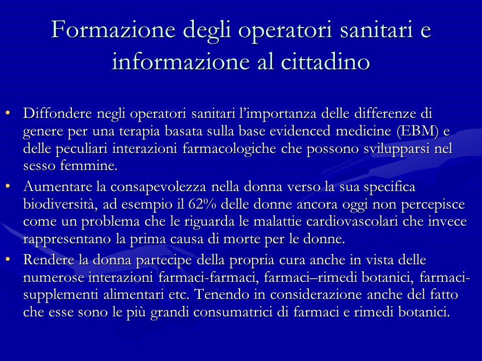 Formazione degli operatori sanitari e informazione al cittadino Diffondere negli operatori sanitari limportanza delle differenze di genere per una ter