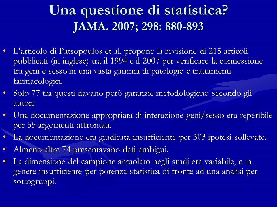 Una questione di statistica? JAMA. 2007; 298: 880-893 Larticolo di Patsopoulos et al. propone la revisione di 215 articoli pubblicati (in inglese) tra