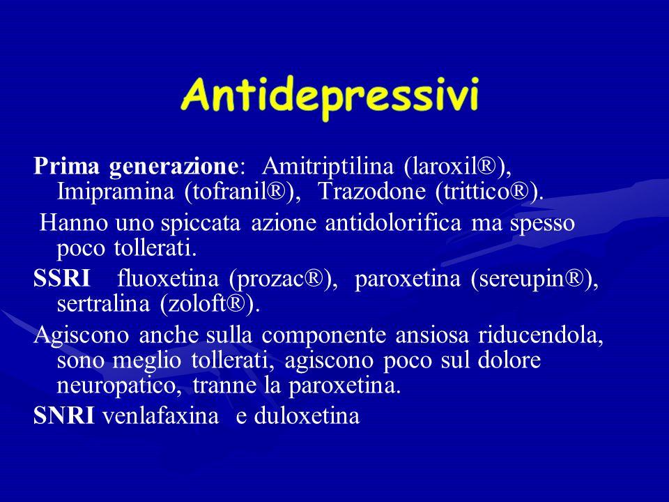Prima generazione: Amitriptilina (laroxil®), Imipramina (tofranil®), Trazodone (trittico®).