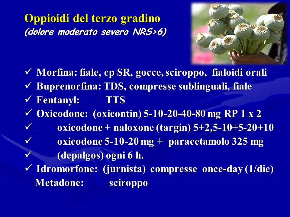 Oppioidi del terzo gradino (dolore moderato severo NRS>6) Morfina: fiale, cp SR, gocce, sciroppo, fialoidi orali Morfina: fiale, cp SR, gocce, sciroppo, fialoidi orali Buprenorfina: TDS, compresse sublinguali, fiale Buprenorfina: TDS, compresse sublinguali, fiale Fentanyl: TTS Fentanyl: TTS Oxicodone: (oxicontin) 5-10-20-40-80 mg RP 1 x 2 Oxicodone: (oxicontin) 5-10-20-40-80 mg RP 1 x 2 oxicodone + naloxone (targin) 5+2,5-10+5-20+10 oxicodone + naloxone (targin) 5+2,5-10+5-20+10 oxicodone 5-10-20 mg + paracetamolo 325 mg oxicodone 5-10-20 mg + paracetamolo 325 mg (depalgos) ogni 6 h.