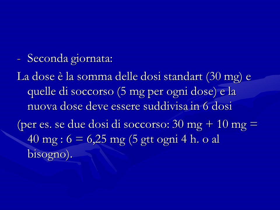 -Seconda giornata: La dose è la somma delle dosi standart (30 mg) e quelle di soccorso (5 mg per ogni dose) e la nuova dose deve essere suddivisa in 6 dosi (per es.