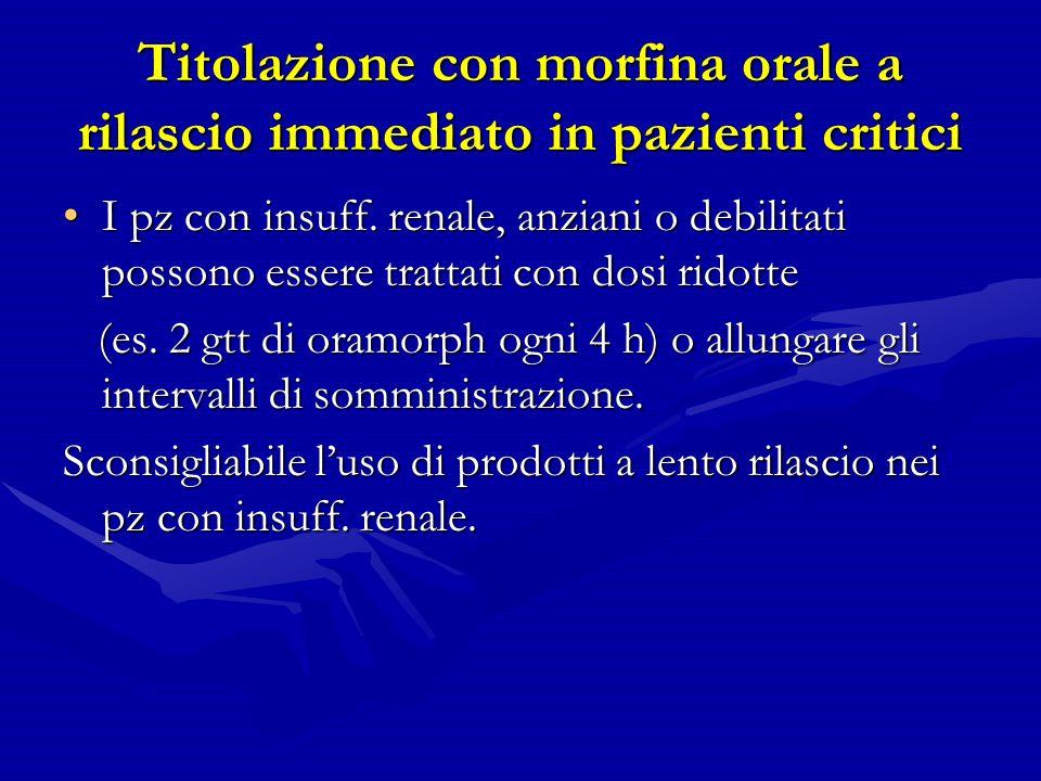 Titolazione con morfina orale a rilascio immediato in pazienti critici I pz con insuff.