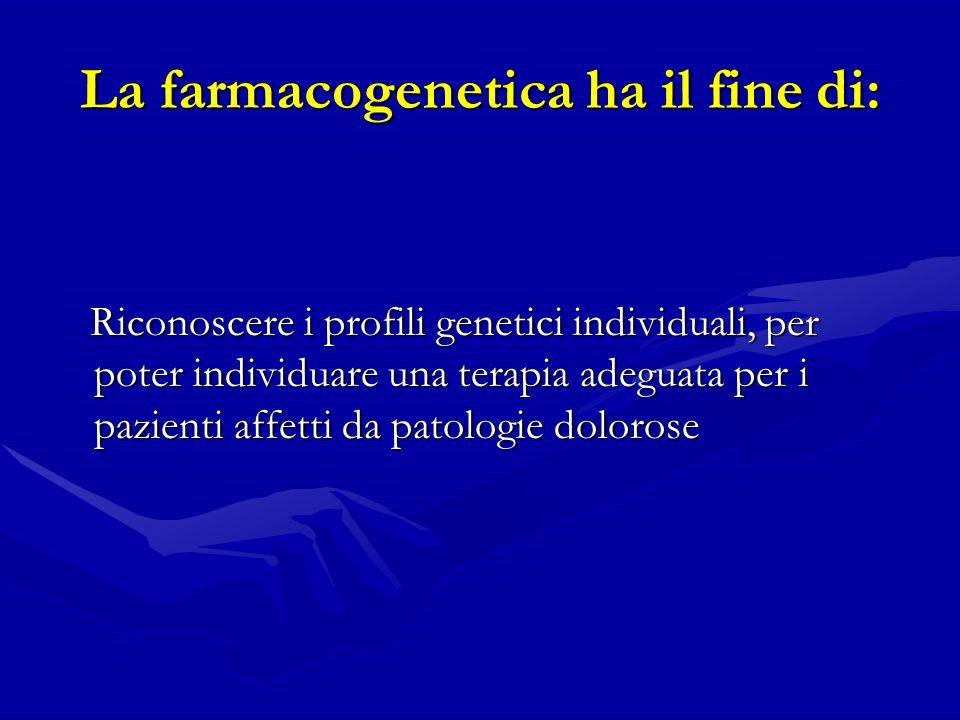 La farmacogenetica ha il fine di: Riconoscere i profili genetici individuali, per poter individuare una terapia adeguata per i pazienti affetti da patologie dolorose Riconoscere i profili genetici individuali, per poter individuare una terapia adeguata per i pazienti affetti da patologie dolorose