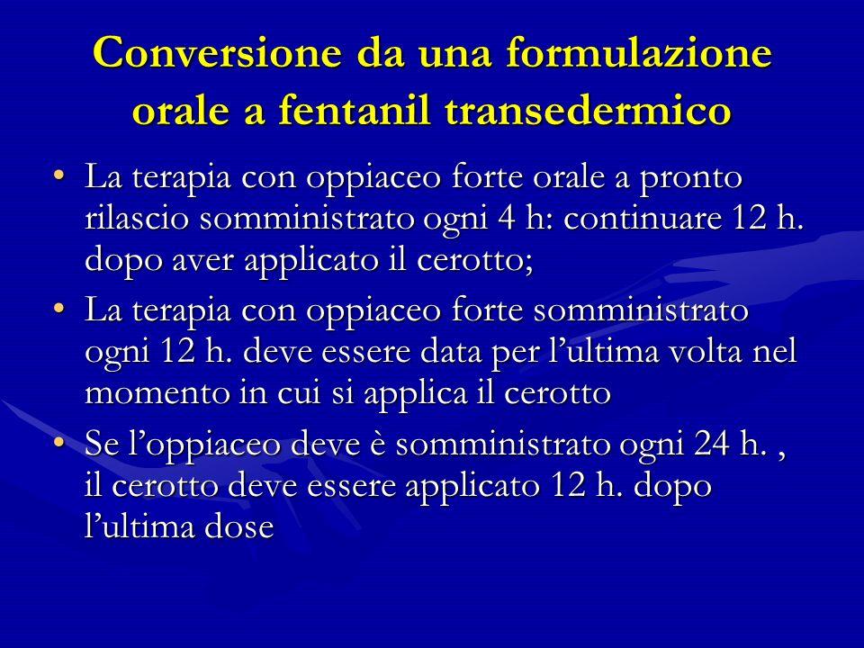 Conversione da una formulazione orale a fentanil transedermico La terapia con oppiaceo forte orale a pronto rilascio somministrato ogni 4 h: continuare 12 h.