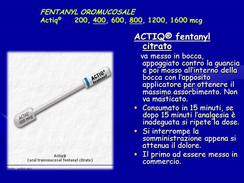 ACTIQ® fentanyl citrato va messo in bocca, appoggiato contro la guancia e poi mosso allinterno della bocca con lapposito applicatore per ottenere il massimo assorbimento.