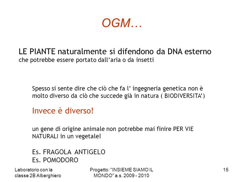 OGM… LE PIANTE naturalmente si difendono da DNA esterno che potrebbe essere portato dallaria o da insetti Spesso si sente dire che ciò che fa l ingegn