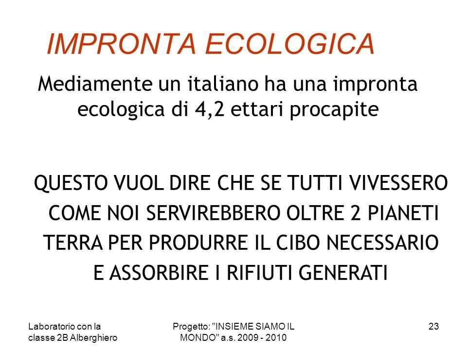 IMPRONTA ECOLOGICA Mediamente un italiano ha una impronta ecologica di 4,2 ettari procapite QUESTO VUOL DIRE CHE SE TUTTI VIVESSERO COME NOI SERVIREBB