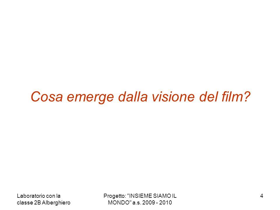 Cosa emerge dalla visione del film? 4Progetto: