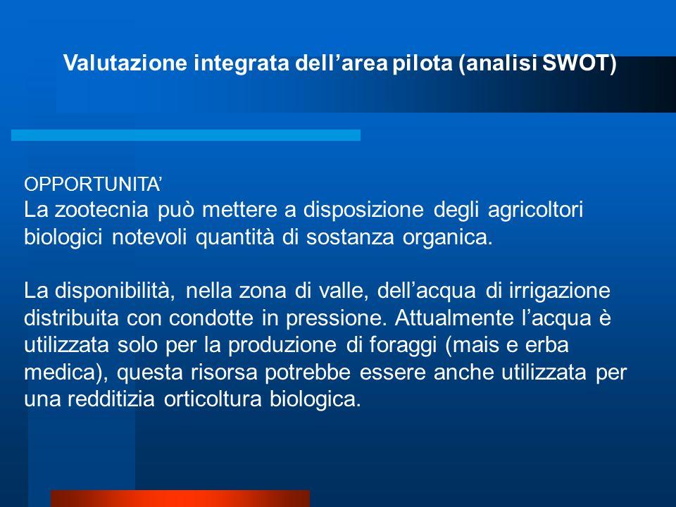 Valutazione integrata dellarea pilota (analisi SWOT) OPPORTUNITA La mancanza su buona parte del territorio, soprattutto in quella più in quota, di det