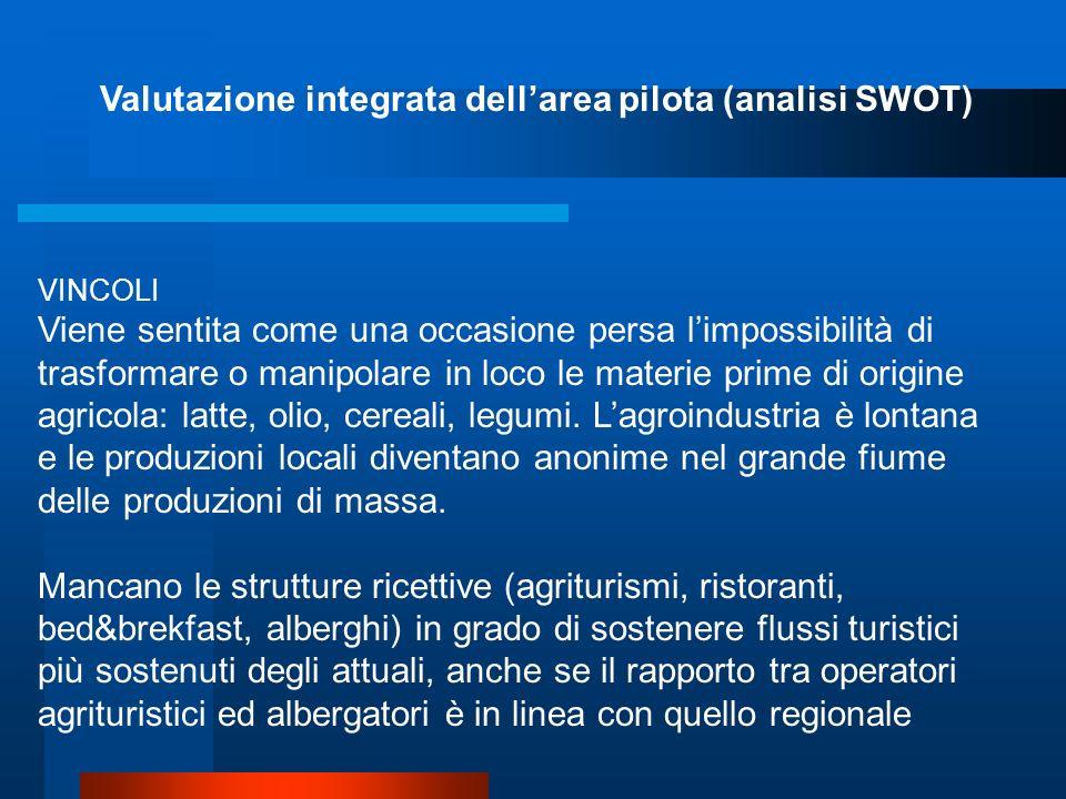 Valutazione integrata dellarea pilota (analisi SWOT) VINCOLI Un vincolo, avvertito soprattutto in riferimento ai terreni di monte, è quello della loro
